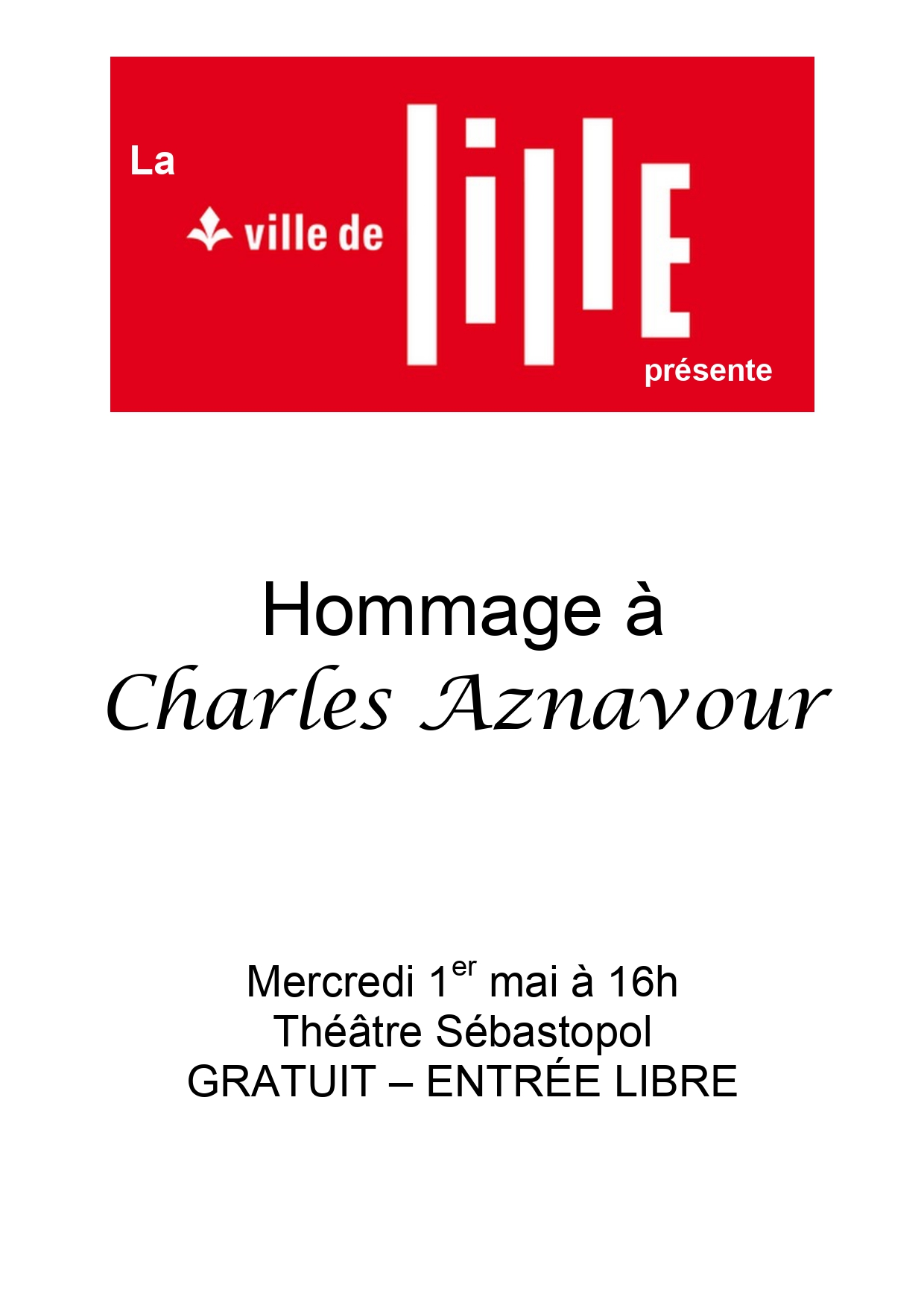 SPECTACLE DU 1ER MAI : Hommage à Charles Aznavour