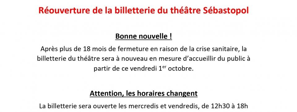Réouverture de la billetterie du théâtre